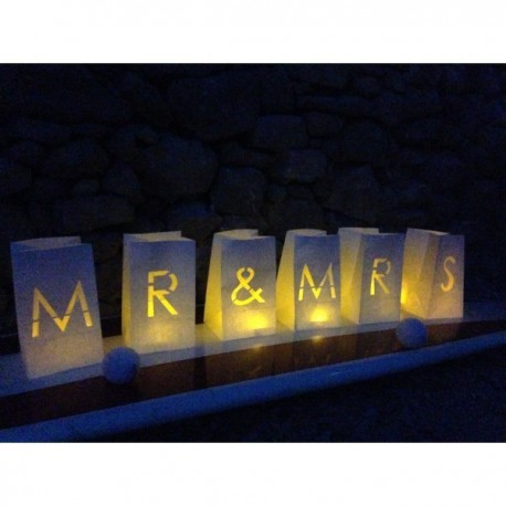 Deco mariage - Pack 6 Photophores MR & MRS GM - Tindra4U