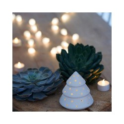 Sapin triangle porcelaine avec LED (2 tailles)